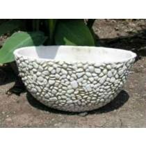 White Bowl Pebble Design 9 Inch Fiberglass Planter