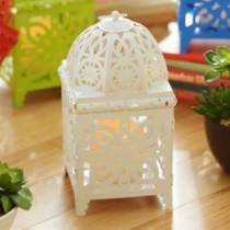 White Bright Metal Lantern with LED Candle