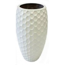 White Gloss Egg Shape 60cm Fiberglass Planter