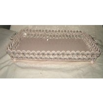 "12 x 12""  Square Shape With Crystal Beads Design Tray"