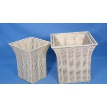 10'' X 9'' White Metal Wired Flared Square Basket