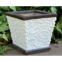 White Pebble Design 12 Inch Fiberglass Planter
