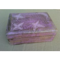 Light Brown Wooden Box With Star & Moon Design Pink washed