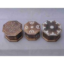 Wooden Brown Octagonal Metallic Design Wood Box