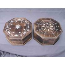 2 Wooden Brown  Octagonal Metallic Design Wood Box