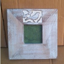 "4''x 4""Wooden Texture Curved  Bird Photo Frame"