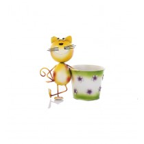 Yellow Cat With 6 Inch White and Green Metal Pot