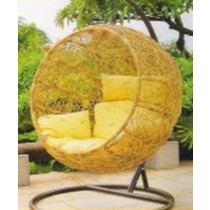 Yellow Round Garden  Rattan Vertical Swing