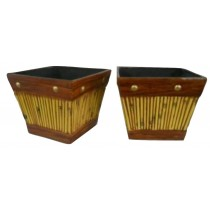 Yellow With Brown Border 11 Inch Fiberglass Planter