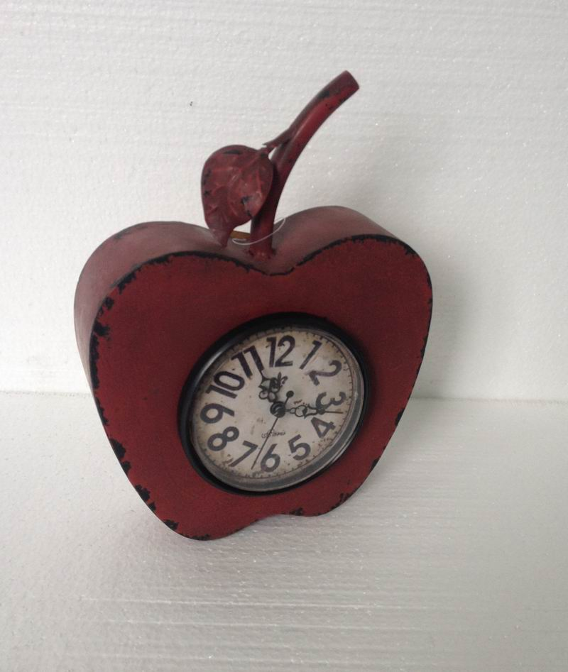 Duqaa.com Red Shabby Apple Shape Metal Table Top Clock Info@duqaa.com