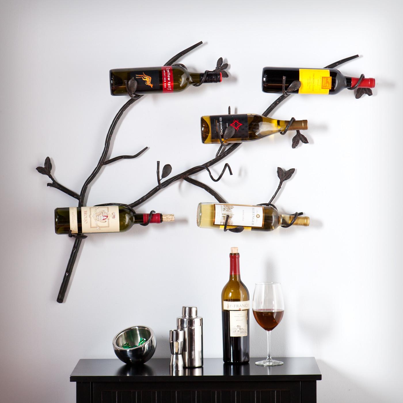 Duqaa Antique Wrought Iron 6 Bottle Wall Mount Wine Rack Info