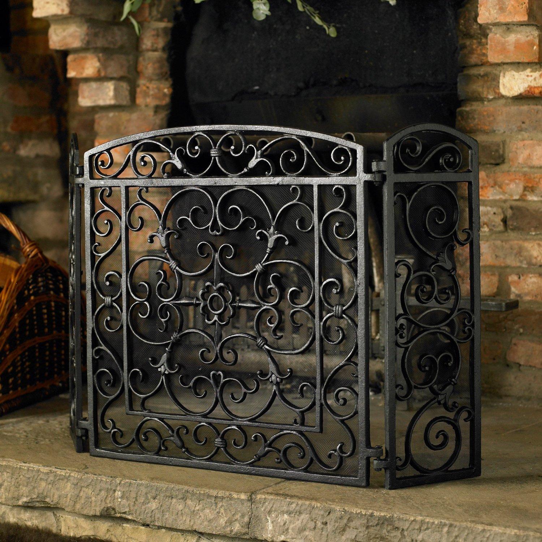 Cast Iron Fireplace Doors : Duqaa black cast iron fireplace screen panel info